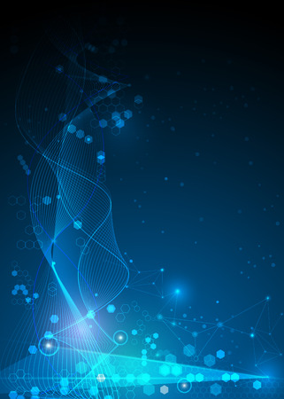 Illustration Abstract Molecules and Mesh lines, Circles, Polygon shapes. Vector design communication technology on blue background. Futuristic- digital technology concept.