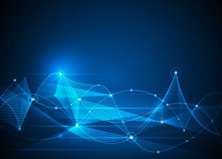 Illustration Résumé Molécules et lignes de maillage, des cercles, des formes polygonales. La technologie de communication Vector design sur fond bleu. concept de la technologie numérique Futuristic-.