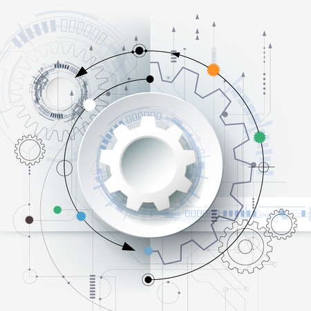 Vector futuristic technology, 3d white paper gear wheel on circuit board. Illustration hi-tech, engineering, digital telecoms concept. With space for content, web- template, business tech presentation.