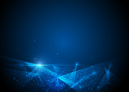 Abstract molecule structure, Polygonal technology on dark blue color background. Vector illustration of Communication - network for futuristic technology concept. Vettoriali