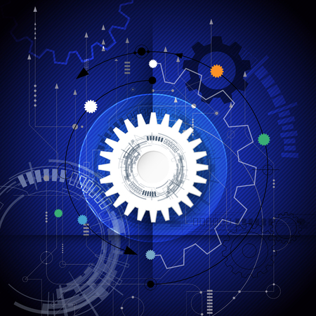 gear wheel: Vector illustration gear wheel and circuit board, Hi-tech digital technology and engineering, digital telecom technology concept. Abstract futuristic on dark blue color background.