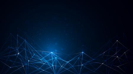 Streszczenie strukturze cząsteczki na ciemnoniebieskim tle koloru. Ilustracja wektora komunikacji - sieci koncepcji technologii futurystycznej.