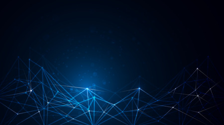 structure moléculaire Résumé sur la couleur bleu foncé fond. Vector illustration de la Communication - réseau pour le concept de technologie futuriste.