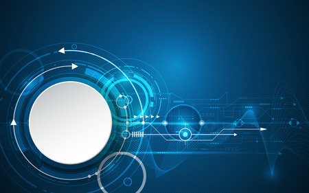 Ilustración del vector 3d círculo de papel blanco con líneas de onda y placa de circuito, la tecnología digital de alta tecnología, la ingeniería, el concepto de tecnología de telecomunicaciones digitales. futurista abstracto sobre fondo azul oscuro.