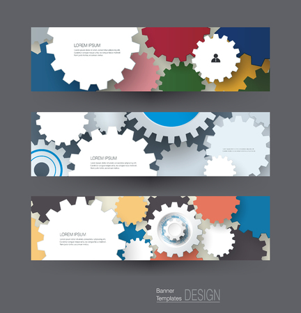 high technology: Vector abstract gear wheel, banners set. High tech technology and engineering background, machine technology futuristic concept. Vector abstract technology for web banner template or brochure. Illustration