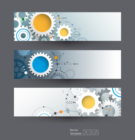 Vector abstract gear wheel and circuit board, banners set. High tech technology and engineering background, machine technology futuristic concept. Vector technology for web banner template or brochure