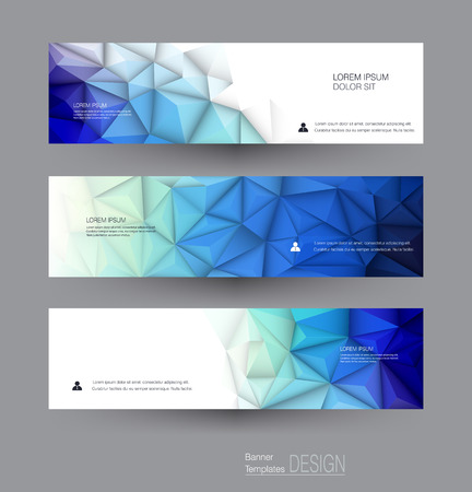 Vector abstract banners set with polygonal, Geometric, Triangle pattern shape. Abstract polygonal ( low poly ) with blank space. Polygon vector background for web banner template or brochure Vettoriali