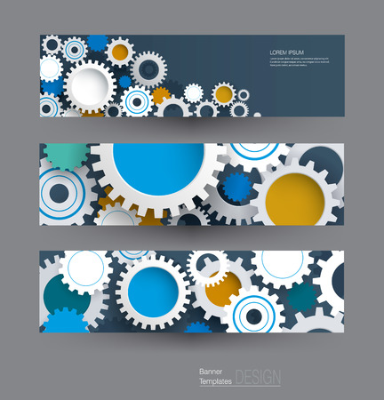 high technology: Vector abstract gear wheel, banners set. High tech technology and engineering background, machine technology futuristic concept. Vector abstract technology for web banner template or brochure