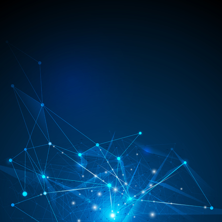 Abstract futuristic - Molecules technology with linear and polygonal pattern shapes on dark blue background. Illustration Vector design digital technology concept.