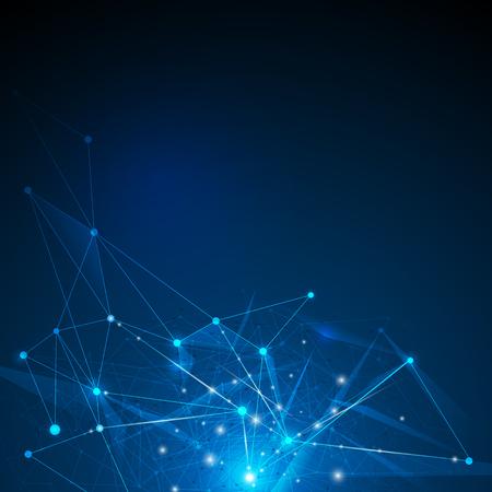 Resumen futurista - Moléculas de la tecnología con patrón lineal y poligonal formas sobre fondo azul oscuro. Ilustración Vector concepto de tecnología digital de diseño. Ilustración de vector