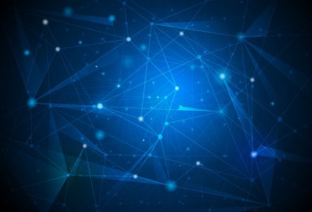 Abstract futuristic - Molecules technology with polygonal shapes on dark blue background. Illustration Vector design digital technology concept