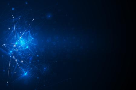 Resumen futurista - Moléculas de la tecnología con patrón lineal y poligonal formas sobre fondo azul oscuro. Ilustración Vector concepto de tecnología digital de diseño.