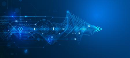 Vector futurista abstracto de la placa de circuito y la línea de malla, la ilustración de alta tecnología informática y de comunicación sobre el fondo de color azul. la tecnología digital de alta tecnología, el concepto global de medios de comunicación social. Ilustración de vector
