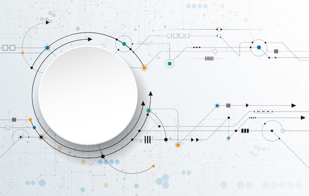 Vector Abstract futuristic, 3D paper circle on circuit board, Illustration high computer technology, light gray color background. Hi-tech digital technology concept.  イラスト・ベクター素材