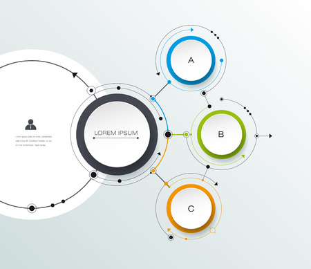 Vector molecule with 3D paper label, integrated circles background. Blank space for content, business, infographic, diagram, digital network, flowchart. Social network connection technology concept Vectores