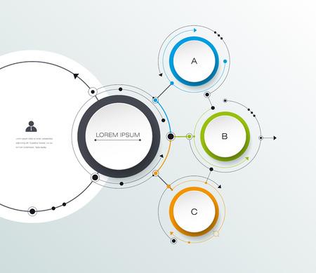 Vector molecule met 3D-papier label, geïntegreerde cirkels achtergrond. Lege ruimte voor inhoud, bedrijf, infographic, diagram, digitaal netwerk, flowchart. Sociaal netwerk verbinding technologie concept Stock Illustratie