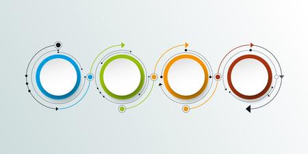 molécula de vector con etiqueta de papel 3D, círculos integrados fondo. espacio en blanco para el contenido, negocio, infografía, diagrama, red digital, diagrama de flujo. concepto de red social tecnología de conexión Ilustración de vector