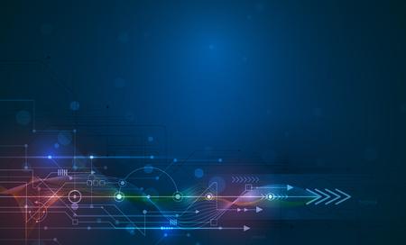 Vector Abstrakte futuristische Leiterplatte und Gitterlinie, Illustration Hoch Computer und Kommunikationstechnik auf blaue Farbe Hintergrund. High-Tech-Digital-Technologie, globale Social-Media-Konzept. Vektorgrafik