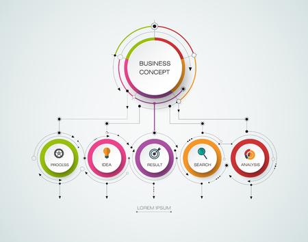 Vector infographic sjabloon met 3D papieren label, geïntegreerde kringen. Zakelijk concept met opties. Voor de inhoud, diagram, flowchart, trappen, delen, tijdlijn infographics, workflow-out, grafiek Stock Illustratie