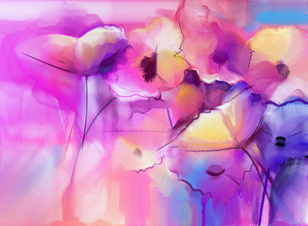 Abstract Tulip flowers watercolor painting. Abstract colorful watercolour paintings for background. Hand painted composition floral in soft color background, Scenic watercolor background.