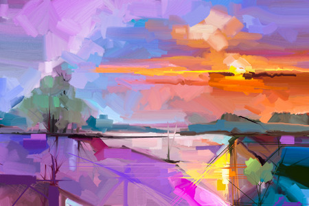 Abstract oil painting  landscape background. Colorful yellow and purple sky. oil painting outdoor landscape on canvas. Semi- abstract tree, hill and field, meadow. Sunset landscape nature background Foto de archivo