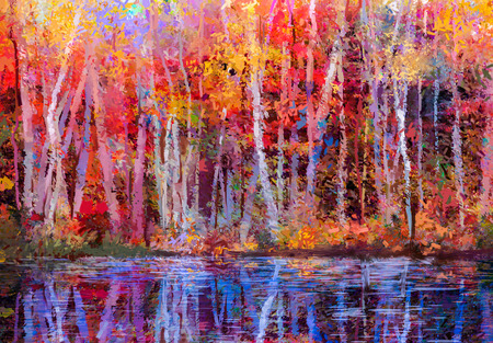 Oil painting colorful autumn trees. Semi abstract image of forest, aspen trees with yellow - red leaf and lake. Autumn, Fall season nature background. Hand Painted Impressionist, outdoor landscape.
