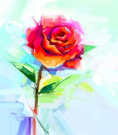 arte abstracto: pintura al óleo abstracta de la flor del resorte. Todavía vida de la rosa roja. ramo de flores de colores con fondo amarillo, verde y azul claro. Pintado a mano estilo impresionista floral.