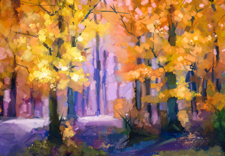 Oil painting landscape - colorful autumn trees. Semi abstract image of forest, trees with yellow - red leaf. Autumn, Fall season nature background. Hand Painted autumn landscape, Impressionist style.
