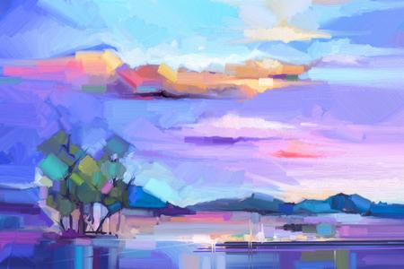 Fondo abstracto del paisaje de la pintura al óleo. Colorido cielo amarillo y púrpura. Pintura al óleo paisaje al aire libre sobre lienzo. Árbol semi- abstracto, colina y campo, prado. Fondo de la naturaleza del paisaje de la puesta del sol.