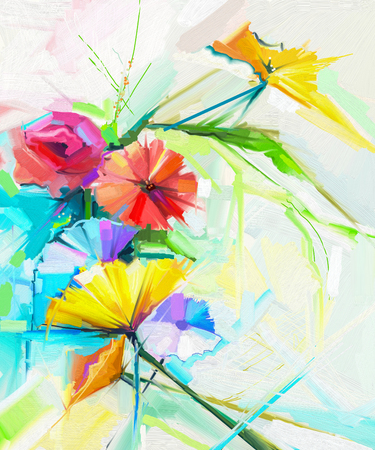 spring flower: Abstract oil painting of spring flower. Still life of yellow, pink and red poppy. Colorful bouquet flowers with light yellow, green and blue background. Hand Painted floral Impressionist style. Stock Photo
