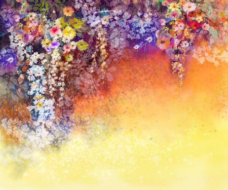Abstract floral watercolor painting. Hand painted White, Yellow and Red flowers in soft color on blue green color background. Ivy flowers in tree park. Spring flower seasonal nature background.