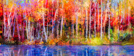 paintings: Oil painting colorful autumn trees. Semi abstract image of forest, aspen trees with yellow - red leaf and lake. Autumn, Fall season nature background. Hand Painted Impressionist, outdoor landscape.