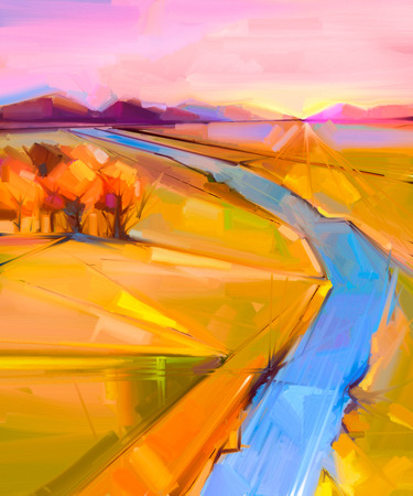 blue green landscape: Abstract colorful oil painting landscape on canvas. Semi- abstract image of tree, hill and yellow - green field, blue river with sunlight and purple blue sky. Spring, Summer season nature background. Stock Photo