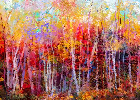 absztrakt: Olajfestmény tájkép - színes őszi fák. Semi absztrakt festmények kép erdő, nyárfa, sárga és piros levél. Ősz, őszi szezon természet háttér. Kézzel festett impresszionista, külső táj.