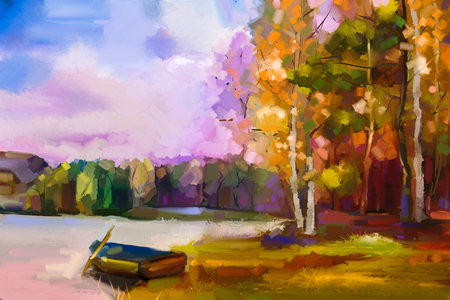 Oil painting landscape - colorful autumn trees. Semi abstract image of forest, trees with yellow, red leaf and boat at lake. Autumn, Fall season nature background. Hand Painted Impressionist style. 版權商用圖片