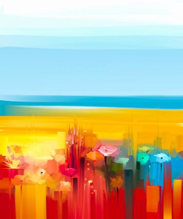 Abstract kleurrijk olieverfschilderij landschap op canvas. Semi-abstracte afbeelding van bloemen, weide en veld in geel en rood met blauwe hemel. Lente, zomer seizoen natuur achtergrond. Stockfoto