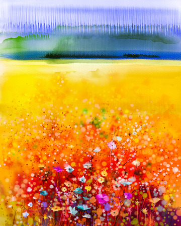 Abstract watercolor painting purple cosmos flower, violet cornflower, white and orange wildflower. Wild flowers meadow, green field paintings. Hand paint floral in meadows. Spring flowers, landscape background.