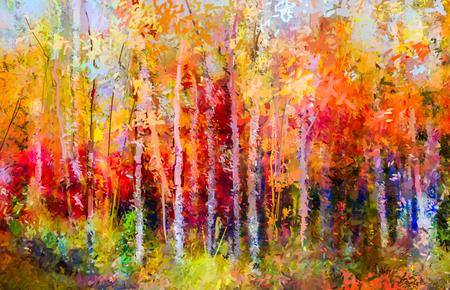 Aceite de la pintura de paisaje - los árboles en otoño de colores. Imagen pinturas abstractas semi del bosque, árbol de Aspen con las hojas de color amarillo y rojo. Otoño, caída cubo estación fondo. Pintado a mano paisaje impresionista, al aire libre. Foto de archivo