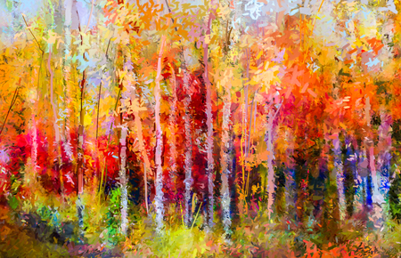 trees forest: Oil painting landscape - colorful autumn trees. Semi abstract paintings image of forest, aspen tree with yellow and red leaf. Autumn, Fall season nature background. Hand Painted Impressionist, outdoor landscape.