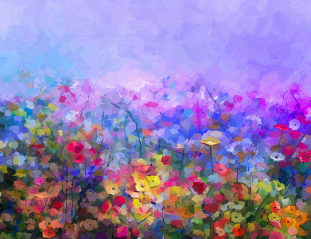 Abstract colorful oil painting purple cosmos flowe, daisy, wildflower in field. Yellow and red wildflowers at meadow with blue sky. Spring, summer season nature background. Banco de Imagens