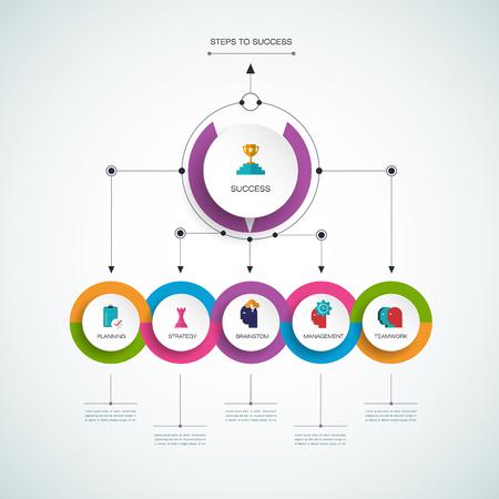 diagrama de flujo: Vector plantilla de infografía 3D con etiqueta de papel, círculos integrados. Concepto de negocio, los pasos hacia el éxito con opciones. Para el contenido, diagrama, diagrama de flujo, los pasos, las partes, la infografía de línea de tiempo, el diseño de flujo de trabajo, carta, proceso