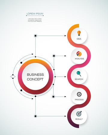 Vector infographic sjabloon met tijdlijn 3D papieren label, geïntegreerde kringen. Zakelijk concept met opties. Voor de inhoud, diagram, flowchart, trappen, delen, tijdlijn infographics, workflow-out, grafiek Vector Illustratie