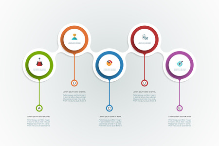 time line: Vector infographics timeline design template with 3D paper label, integrated circles background. Blank space for content, business, infographic, diagram, digital network, flowchart, process diagram, time line