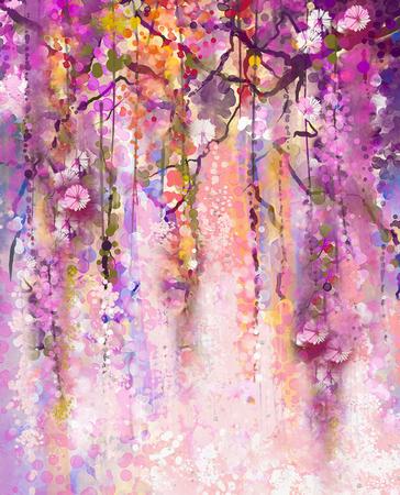 추상 꽃 수채화 그림입니다. 봄 보라색 꽃 등나무 배경