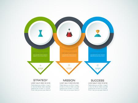 Vector infographics ontwerp sjabloon met 3D papier label, geïntegreerde cirkels achtergrond. Lege ruimte voor inhoud, bedrijf, infographic, diagram, digitaal netwerk, flowchart, procesdiagram