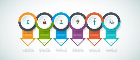 Vector infographics tijdlijn ontwerp sjabloon met 3D papieren label, geïntegreerde cirkels achtergrond. Lege ruimte voor de inhoud, het bedrijfsleven, infographic, diagram, digitale netwerk, flowchart, process diagram, tijdslijn