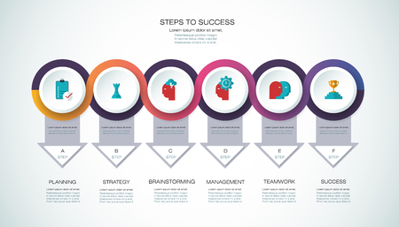 diagrama de flujo: Vector infographic template with 3D paper label, integrated circles. Business, steps to success concept with options. For content, diagram, flowchart, parts, timeline infographics, workflow layout, chart.