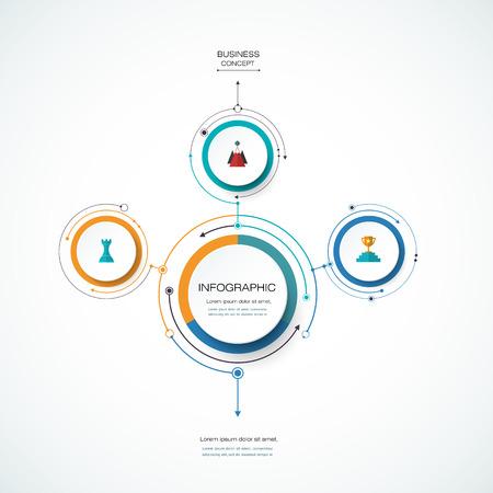 Modèle de conception d'étiquettes de vecteur infographie cercle 3D avec signe de flèches et 3 options ou étapes. Infographie pour présentations commerciales ou bannière d?information, diagramme de processus, organigramme, graphique, schéma Banque d'images - 71188350