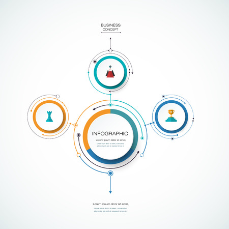 Vector Infographic 3D circle label design template with arrows sign and 3 options or steps. Infographics for business presentations or information banner, process diagram, flow chart, graph, scheme Vectores