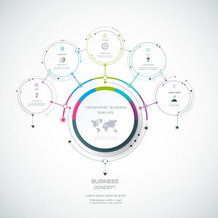 Vector Infographic 3D cirkel label ontwerp sjabloon met pijlteken en 5 opties of stappen. Infographics voor bedrijfspresentaties of informatiebanner, procesdiagram, debietkaart, grafiek, schema